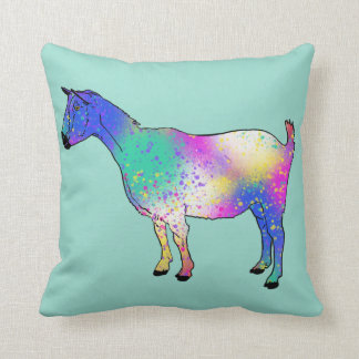 Blue Purple Pink Goat Animal Art Design Cushion
