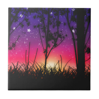 Blue Purple Pink Sunset Moonrise Tile