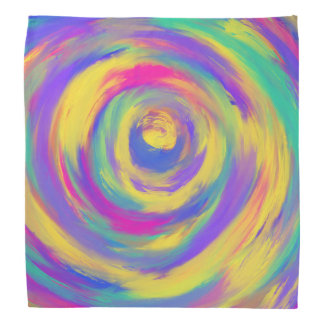 Blue Purple Pink Yellow Spiral Abstract Art Design Bandana