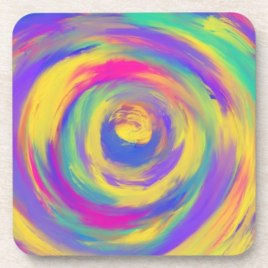 Blue Purple Pink Yellow Spiral Abstract Art Design
