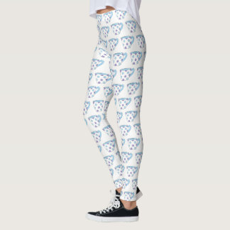 Blue Purple Polka Dot Teacup Tea Time Cup Party Leggings