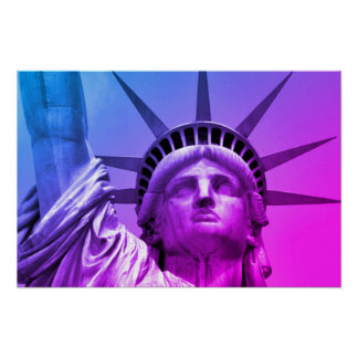 Blue Purple Pop Art Statue of Liberty New York Poster