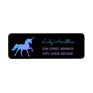 Blue & Purple Rainbow Unicorn Address Label