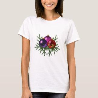 Blue, Purple, & Red Christmas Balls on Pine Sprigs T-Shirt