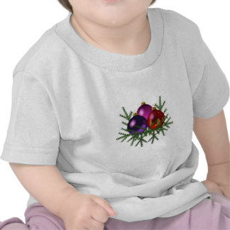Blue, Purple, & Red Christmas Balls on Pine Sprigs T Shirt