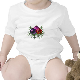 Blue, Purple, & Red Christmas Balls on Pine Sprigs Baby Bodysuits