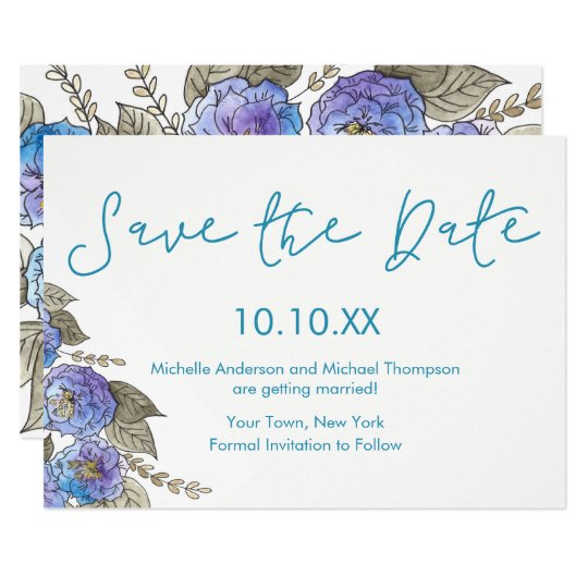 Blue Purple Rose Floral Watercolor Save the Date