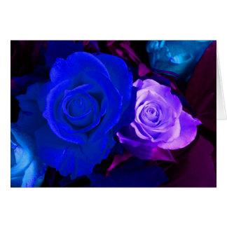 Blue Purple Rose Greeting Card