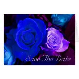 Blue Purple Rose Save The Date Card