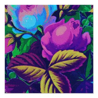 Blue & Purple Roses 13 Cm X 13 Cm Square Invitation Card