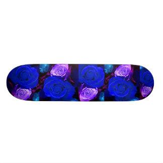 Blue Purple Roses Skateboard - Customizable Skateboard Deck