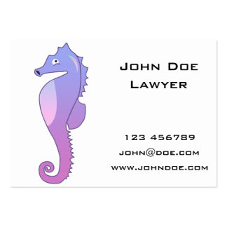 Blue Purple Sea Horse Illustration Pack Of Chubby Business Cards
