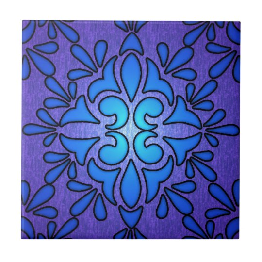 Blue Purple Stainded Glass Style Design Small Square Tile