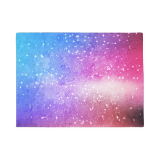 Blue purple starry galaxy sky doormat