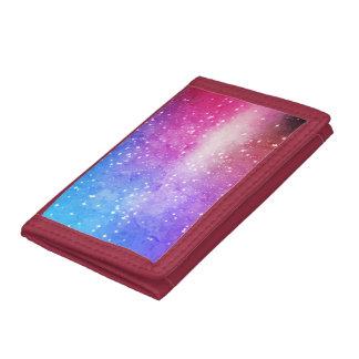 Blue purple starry galaxy sky tri-fold wallet