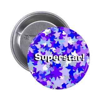 Blue & Purple Stars Confetti pattern 6 Cm Round Badge