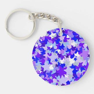 Blue & Purple Stars Confetti pattern Key Chains