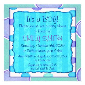 Blue purple stripe dot baby shower invitations