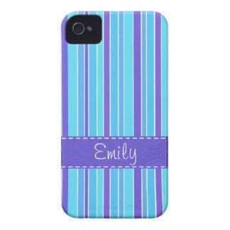 Blue & Purple Striped Case-Mate iPhone 4 Cases