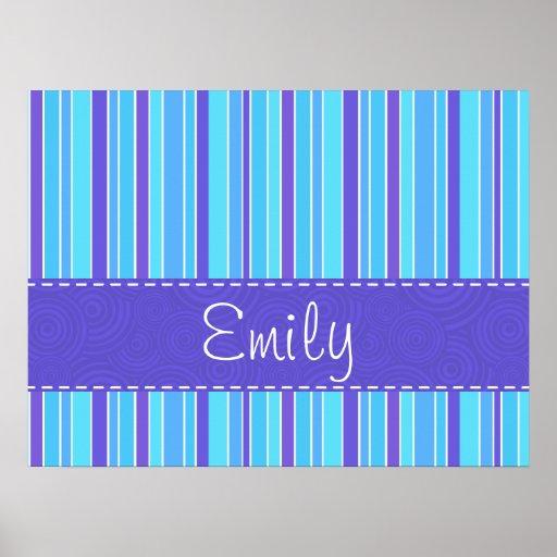 Blue & Purple Striped Posters