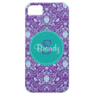 Blue,Purple, Teal Green Monogrammed iPhone 5 case