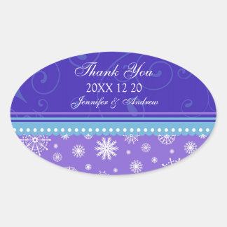 Blue Purple Thank You Winter Wedding Stickers