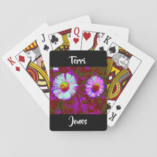Blue Purple Violet Daisy Flower Floral Photography Playing Cards