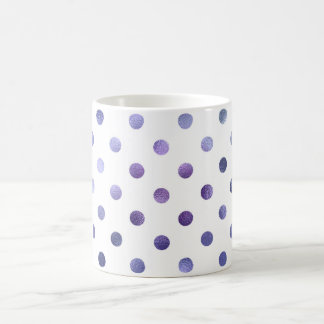 Blue Purple Violet Metallic Faux Foil Polka Dot Coffee Mug