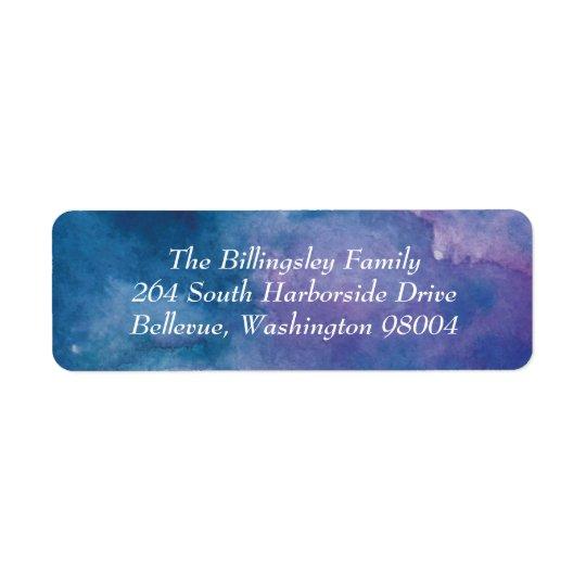 Blue Purple Violet Watercolor Address Label
