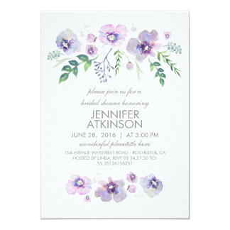 Blue Purple Watercolor Flowers Bridal Shower Card