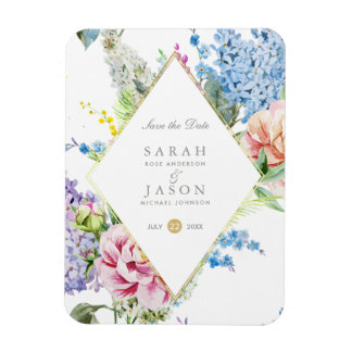 Blue & Purple Watercolor Flowers | Save The Date Magnet