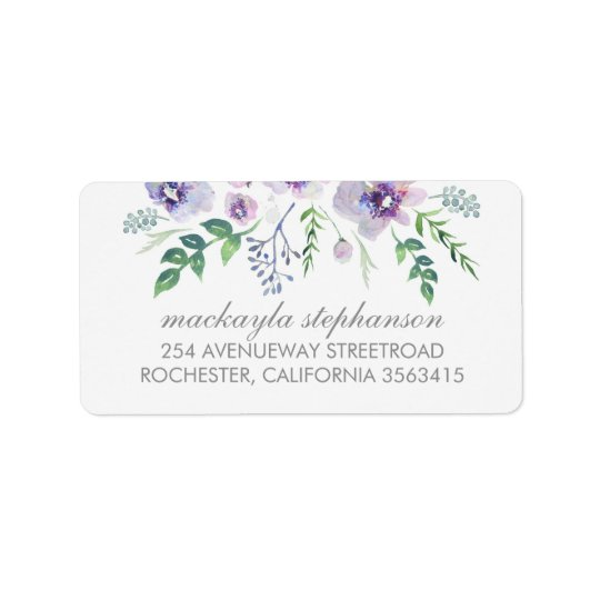 Blue Purple Watercolor Flowers Wedding Address Label