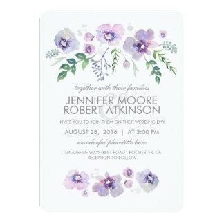 Blue Purple Watercolor Flowers Wedding Card