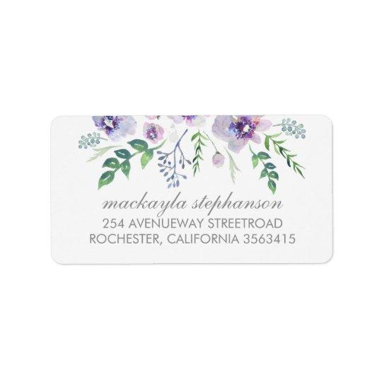 Blue Purple Watercolor Flowers Wedding Label