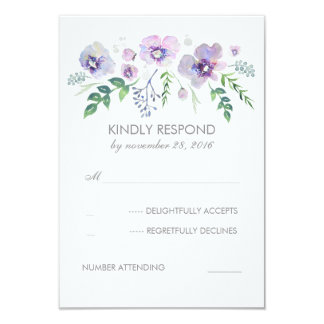 Blue Purple Watercolor Flowers Wedding RSVP Card