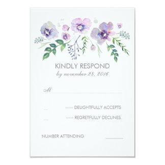 Blue Purple Watercolor Flowers Wedding RSVP Card