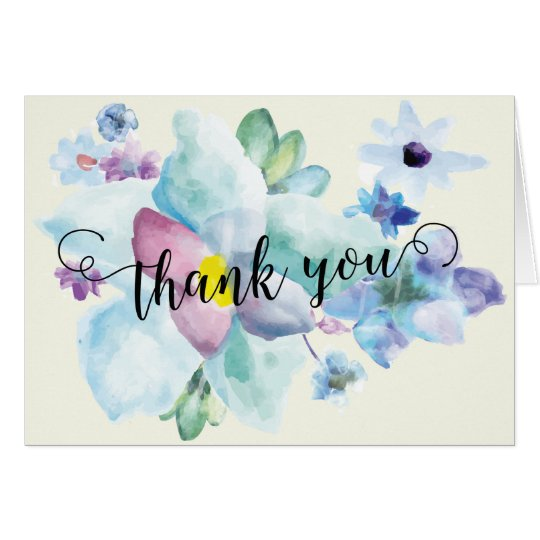 Blue & Purple Watercolor Thank You Note Card