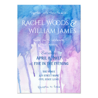 Blue & Purple Watercolor | Wedding Invitation