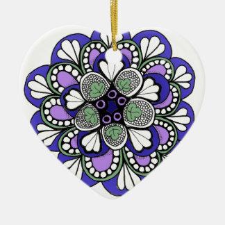 Blue Purple Zentangle Mandala Christmas Tree Ornaments