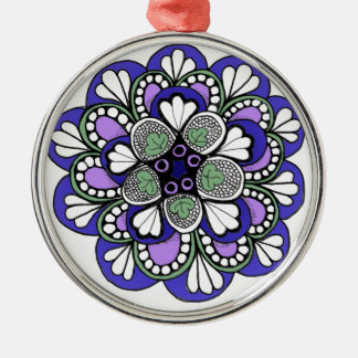 Blue Purple Zentangle Mandala Ornament