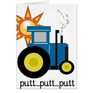 Blue Putt Putt Tractor Greeting Card