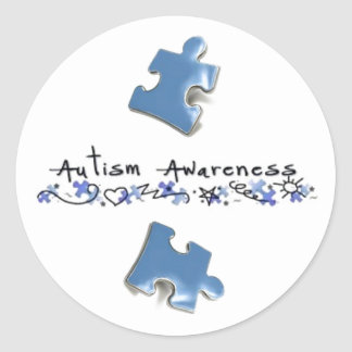 Blue Puzzle Pieces - Autism Awareness Round Sticker