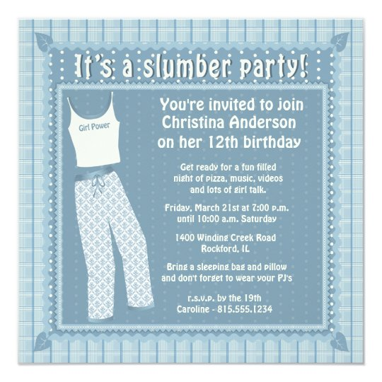 Blue Pyjamas Slumber Party Invitation
