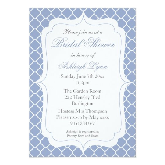 Blue Quatrefoil 5x7 Bridal Shower Invitations