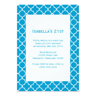 "Blue Quatrefoil Birthday Invitation 5"" X 7"" Invitation Card"