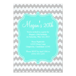Blue Quatrefoil Chevron Birthday Invitation
