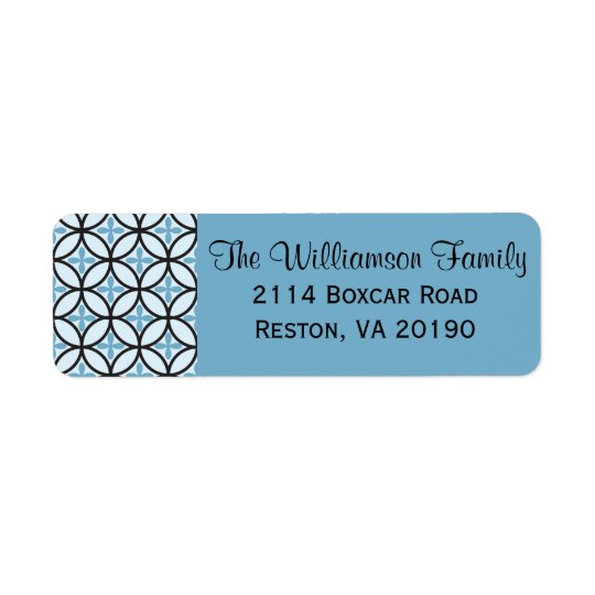 Blue Quatrefoil Cross Label