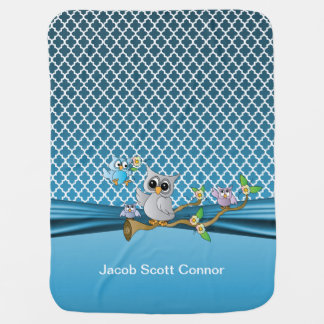Blue Quatrefoil Designs with Baby Owls Baby Blanket