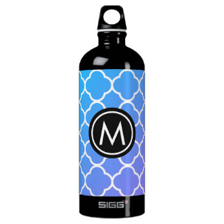 Blue Quatrefoil Monogram Black SIGG Water Bottle