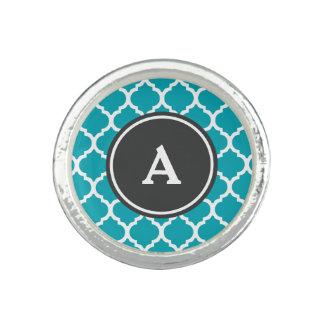Blue Quatrefoil Monogram
